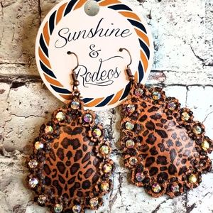 Leopard Print Metal Teardrop Earrings